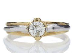 18k Two Tone Single Stone Rub Over Set Diamond Ring 0.35 Carats