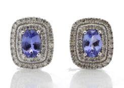9k White Gold Diamond And Tanzanite Halo Earrings