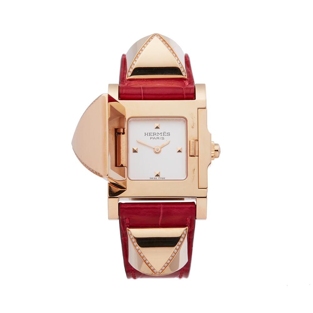 Hermes Medor W041283WW00 Ladies Rose Gold Diamond Watch - Image 8 of 8