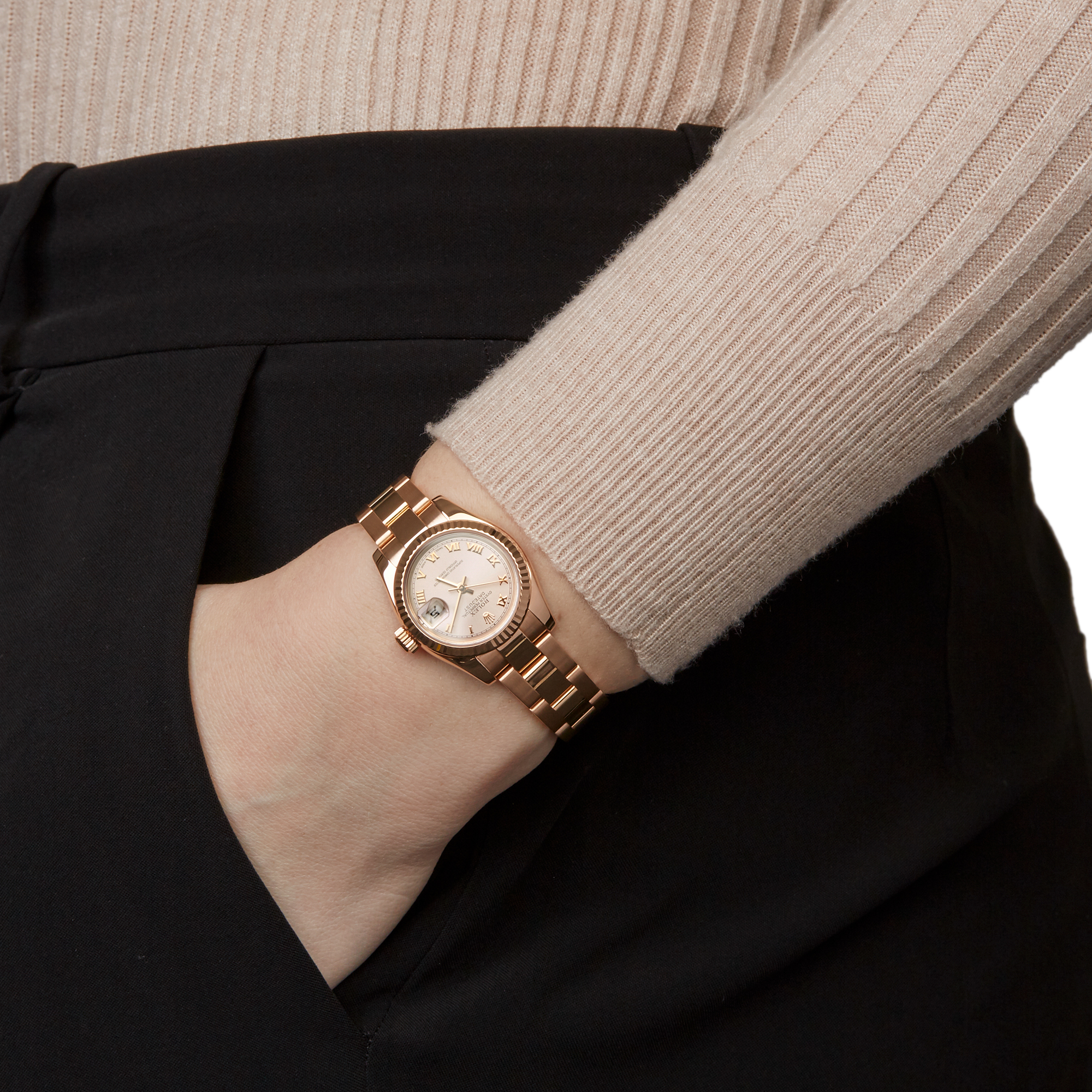 Rolex Datejust 26 179175 Ladies Rose Gold Watch - Image 2 of 8
