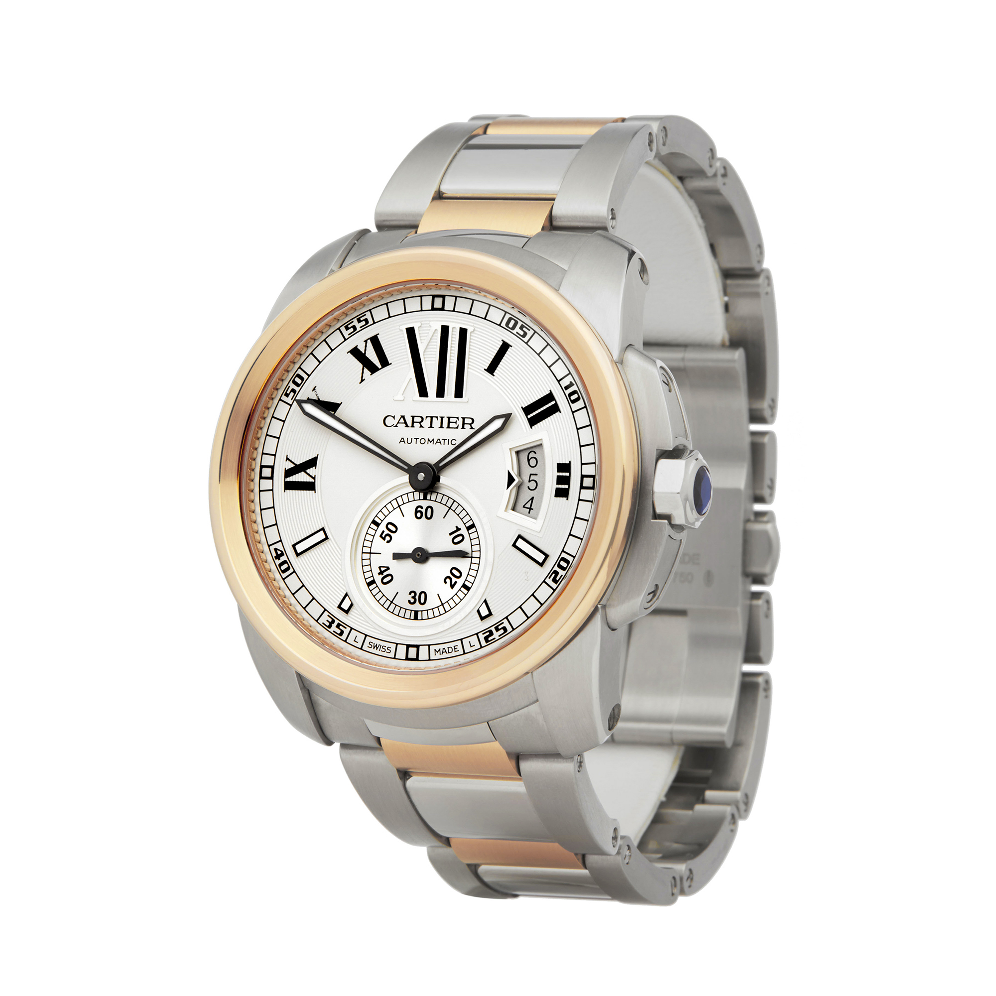 Cartier Calibre W7100036 or 3389 Men Stainless Steel & Rose Gold Watch