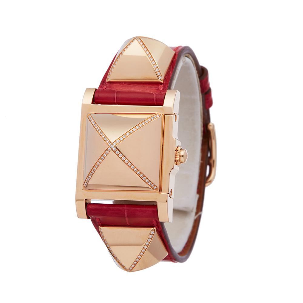 Hermes Medor W041283WW00 Ladies Rose Gold Diamond Watch