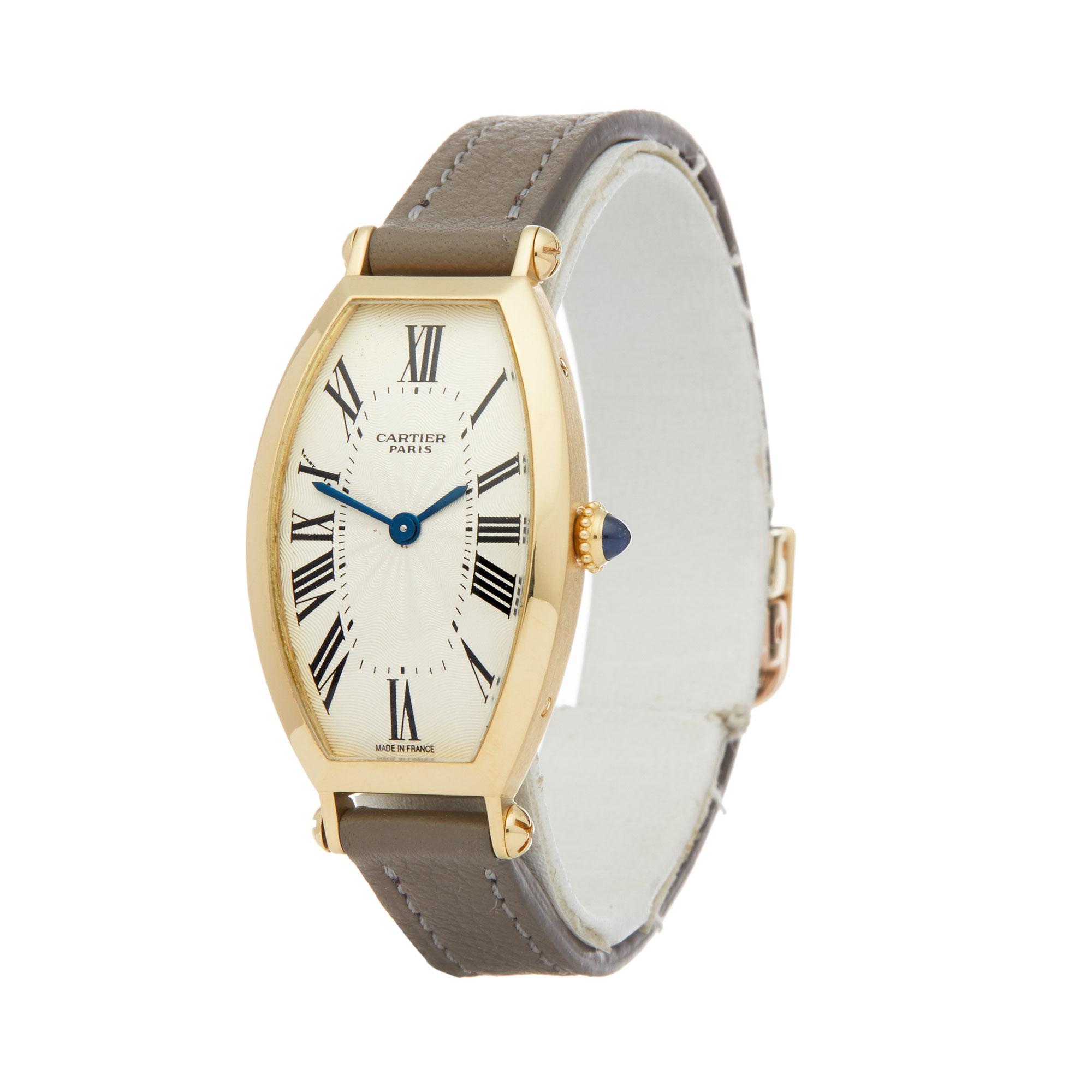 Cartier Tonneau 2451B Ladies Yellow Gold Mecanique Watch