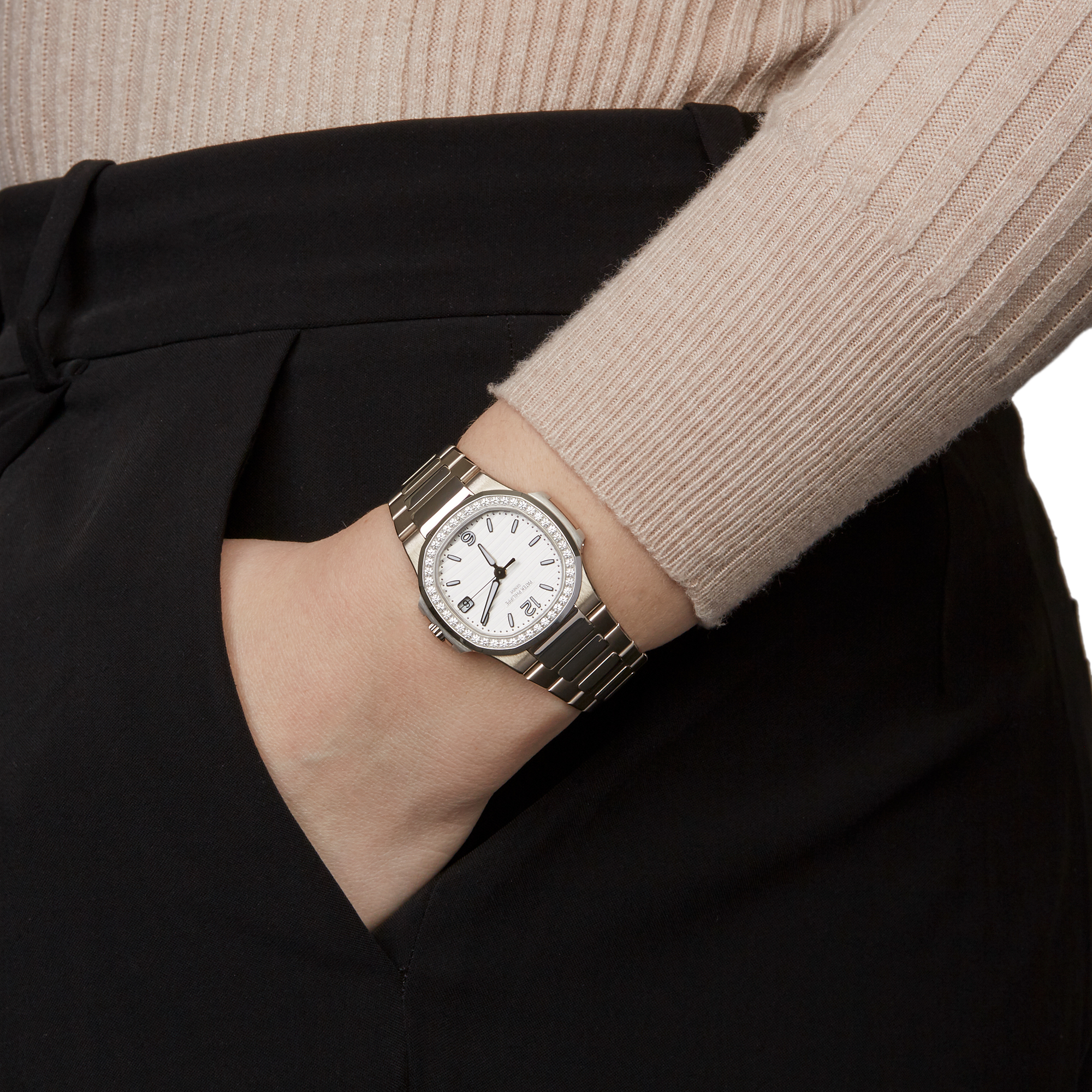 Patek Philippe Nautilus 7010G Ladies White Gold Diamond Watch - Image 2 of 8
