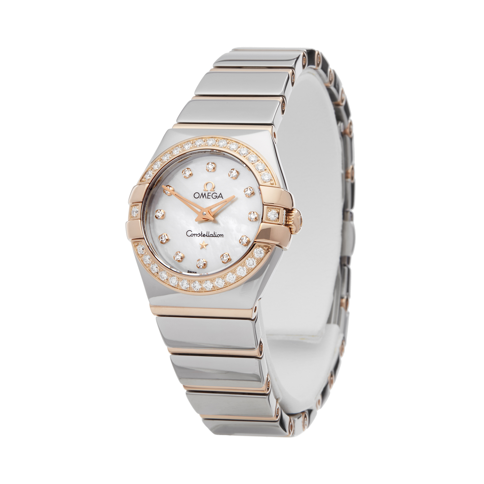 Omega Constellation 0 123.25.24.60.55.005 Ladies Stainless Steel & Rose Gold Diamond Mother Of Pearl