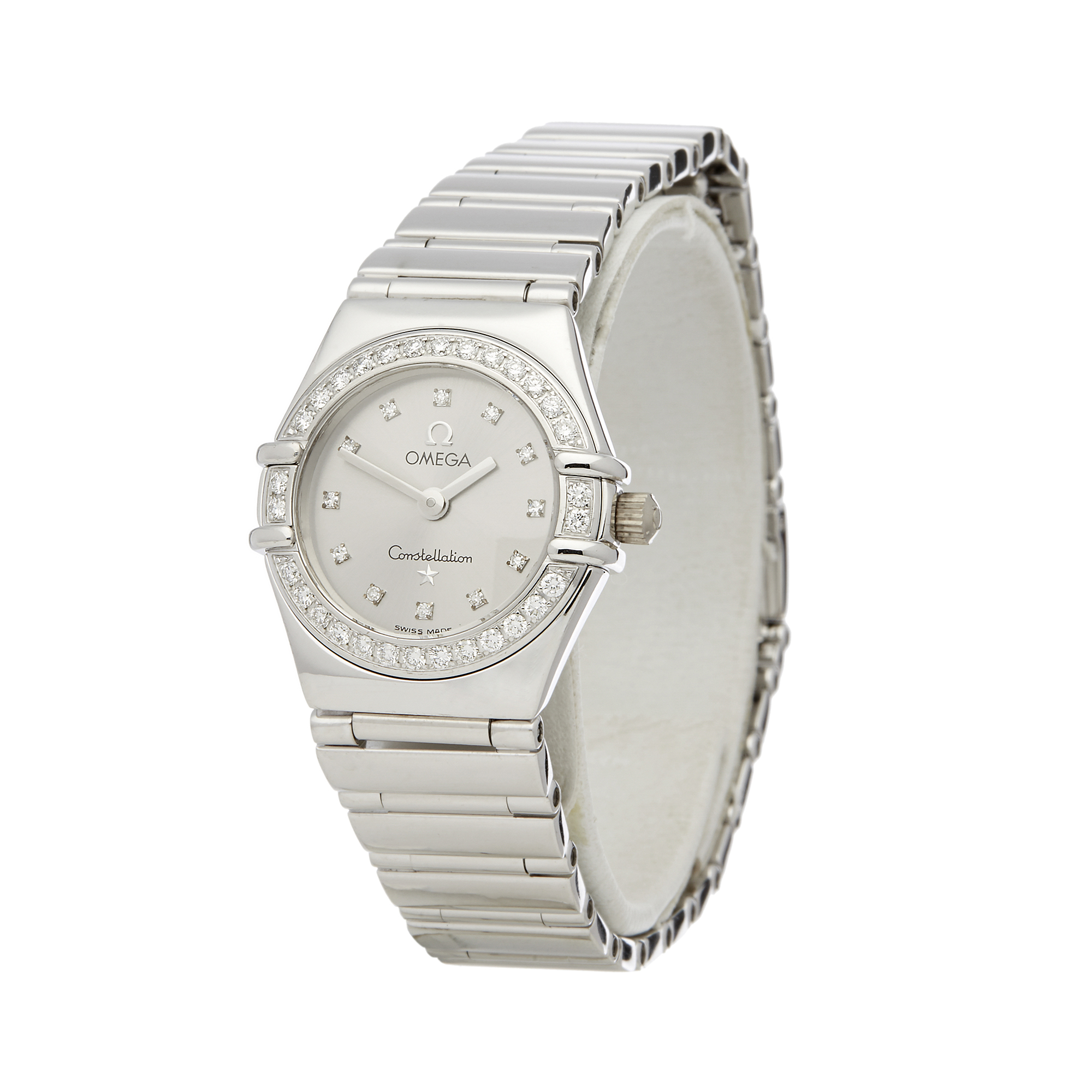 Omega Constellation 0 1165.36 Ladies White Gold Diamond Watch