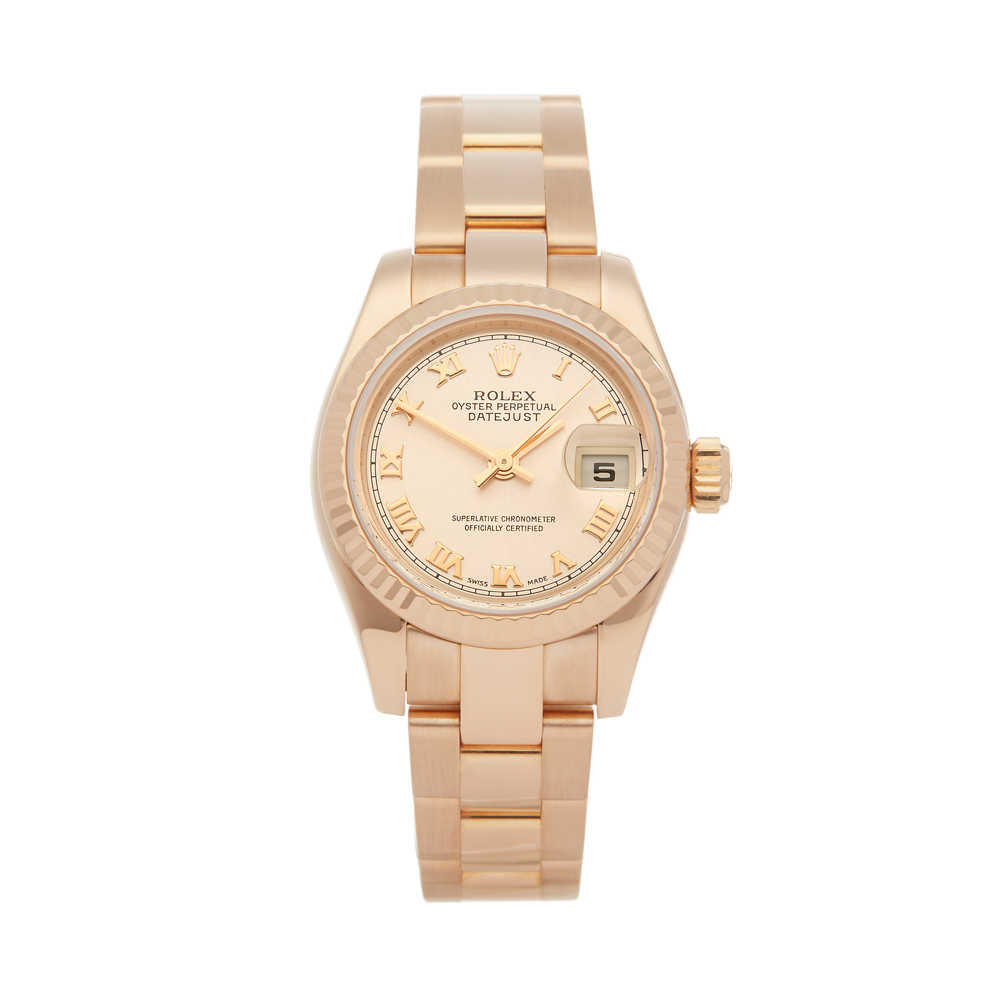Rolex Datejust 26 179175 Ladies Rose Gold Watch - Image 8 of 8