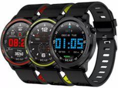 L8 Blood Pressure, Oxygen, Heart Rate Monitor, Bt4.0 Ip68 Smart Watch - Grey/Black Strap