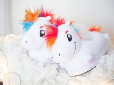 White Light Up Unicorn Slippers Led Children & Adult - 10 Units Per Lot