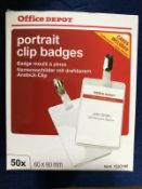 Portrait Clips Id Badge Clear Card Portrait 60Mm X 90Mm 50 Per Pack - 8 Units Per Lot