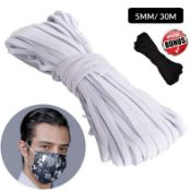 5Mm, 30M White Flat Elastic Band With Free Gift. Great For Mask Making Sewing And Crafting DIY Arts