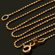 19.7 In (50 cm) Beat / Ball Chain Necklace. In 14K Rose/Pink Gold