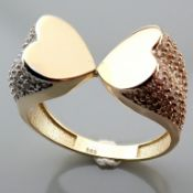 Italian Design Swarovski Zirconia. Two Heart Ring. In 14K Tri Colour White Yellow and Rosegold