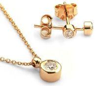14K Rose Gold - Diamond Earring and Pendant set Total 0,30 ct