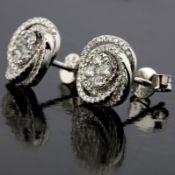 14 kt. White gold - Earrings - 0.58 ct Diamond