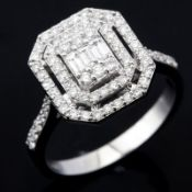 14 kt. White gold - Ring - 0.62 ct Diamond