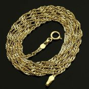 17.7 In (45 cm) Singapore Chain Necklace. In 14K Yellow Gold