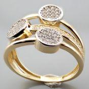 Italian Design Swarovski Zirconia Ring. In 14K Yellow and White Gold