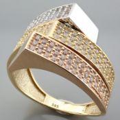 Italian Design Swarovski Zirconia Ring. In 14K Tri Colour White Yellow and Rosegold