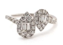 18ct White Gold Double Pear Shape Cluster Diamond Ring 0.83 Carats