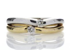 18ct Two Stone Rub Over Set Diamond Ring 0.15 Carats