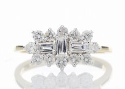 18ct Yellow Gold Boat Shape Diamond Cluster Ring 1.00 Carats
