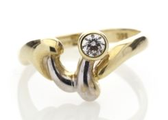 9ct Single Stone Rub Over Set Diamond Ring 0.20 Carats