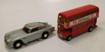 Collectable 2 Corgi Models. 007 Aston Martin & London Transport Bus