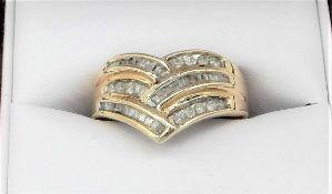 10Ct Yellow Gold Diamond Wishbone Ring