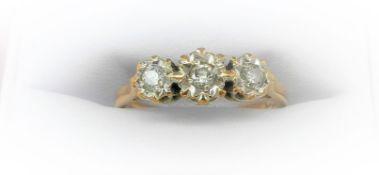 3 Stone Diamond Illusion Ring