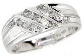 10Ct White Gold Diamond Diagonal Half Hoop Ring