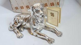Silver Plated Labrador Dog Ornament. Vivien C