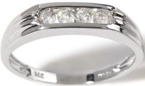 Gents 4 Stone Diamond Half Hoop Ring