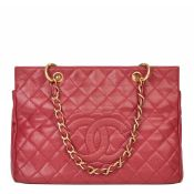 Chanel Red Quilted Caviar Leather Vintage Grand bidping Tote Gst