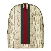 Gucci Natural Animalier Python Leather & Web Backpack