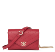 Chanel Red Chevron Quilted Calfskin Leather Coco Waist Bag