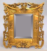 Carved Floral Giltwood Bevelled Glass Wall Mirror