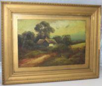 Victorian Landscape Set in Gilt Frame Oil on Board