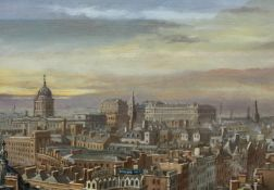 Steven Scholes (58- British) A View of the London Skyline, Signed Oil on Board
