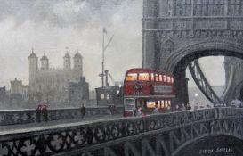 Steven Scholes, Tower Bridge London 1958, Signed Oil on Canvas