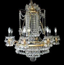 Designer Profusely Dressed Crystal Gilt Metal Chandelier