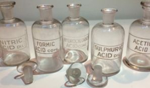 Antique Scarce Chemist Bottles With Glass Stoppers