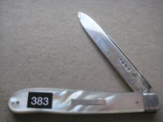 Rare Victorian Mother of Pearl Hafted Silver Bladed Folding Fruit Knife