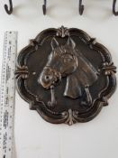 Heavy, Metal Bronzed Horse's Head Coat Hooks