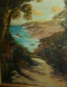 """Small Riviera Oil on Canvas Signed """"Y. Rayworth 85"""""""
