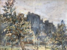 William Timmons, Houses Above The Kelvin. Signed Oil on Canvas Board
