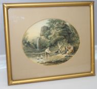 Pair of Victorian Oval LeBlond Prints Set in Gilt Frames