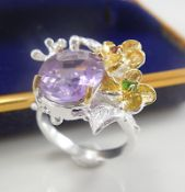 Unique fine art natural Amethyst sterling silver ring