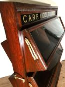 Antique Scare Original Mahogany Shop Carr's British biscuit cracker Display cabinet stand and Tins