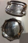 Two Antique Solid Silver decorative trays round and rectangular